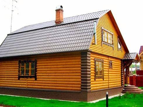 деревянный дом из облицовочного бревна