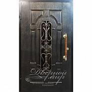 Входная парадная дверь со стеклом, с ковкой, с патинированным МДФ: Элит ДМ-703 в производственной компании Дверной Мир